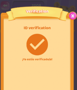 verificaciónterminadaenlaaplicacióndeCoinPop